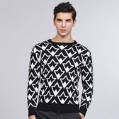 針織毛衣 長袖-時尚幾何圖形圓領百搭男針織衫73ik94【時尚巴黎】