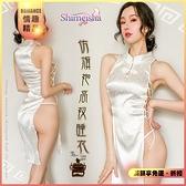性感睡衣 內睡衣 含內褲 居家衣著《SHIMEISHA》仿旗袍睡衣!復古兩側細綁帶高開衩鏤空兩件組