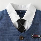 西裝禮服 棉新生兒童連身紳士短袖哈衣寶寶百天周歲假兩件西裝造型短爬服 6色