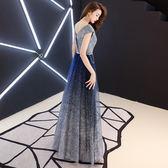 verawang晚禮服女2018新款星空裙長款宴會高貴優雅主持人公司年會