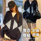 EASON SHOP(GQ2477)英倫風撞色菱形格子格紋落肩寬鬆單排釦V領開衫長袖毛衣針織衫外套女上衣服外搭衫