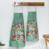日式親子棉麻圍裙 可愛兒童成人廚房防油圍腰 餐廳定制logo工作服   良品鋪子