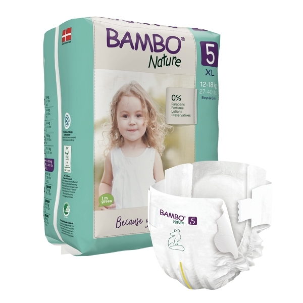 BAMBO 伴寶樂 嬰兒紙尿褲-自然風 5號 12-18kg (22片/6包/箱)【杏一】