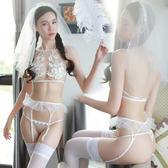 情趣內衣性感透視裝三點式蕾絲吊襪帶小胸火激情新娘情趣套裝SM騷【店慶狂歡八五折搶購】