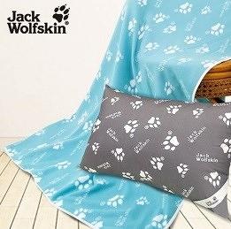 Jack Wolfskin飛狼 抗菌枕、藍綠四季毯暖冬超值組