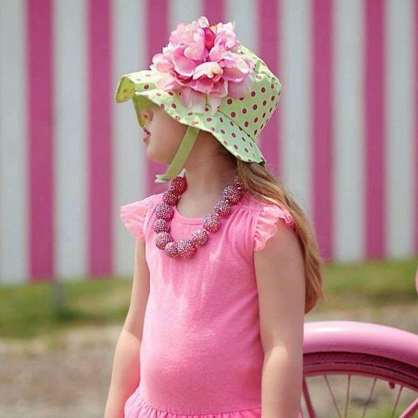 遮陽帽 / 寶寶帽 Jamie Rae 綠底粉點糖果粉牡丹 SH-LAL-CPLP