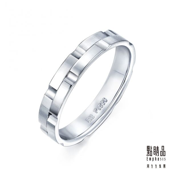 點睛品Promessa系列 鉑金戒指(女戒) (71137無配鑽款)