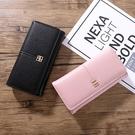 女生長夾 多卡位搭扣韓版女士手機包 純色簡約時尚拉鏈錢包 女士長款錢夾皮夾 女士長款錢包