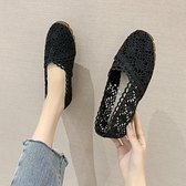 漁夫鞋 夏季新款韓版網紗鞋女平底淺口單鞋透氣鏤空懶人鞋蕾絲漁夫鞋 瑪麗蘇