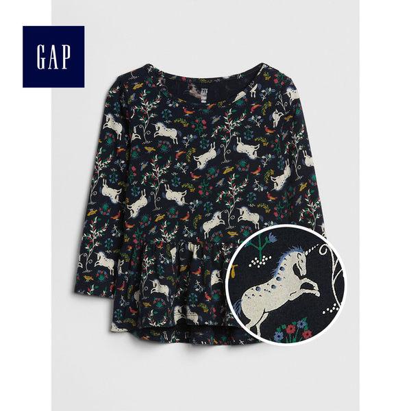 Gap女嬰幼童 柔軟裝飾下擺長袖上衣 497469-獨角獸圖案