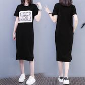 海外直發不退換韓版大尺碼洋裝6010夏季新款韓版印花貼布連衣裙中長款過膝長裙女(G608)