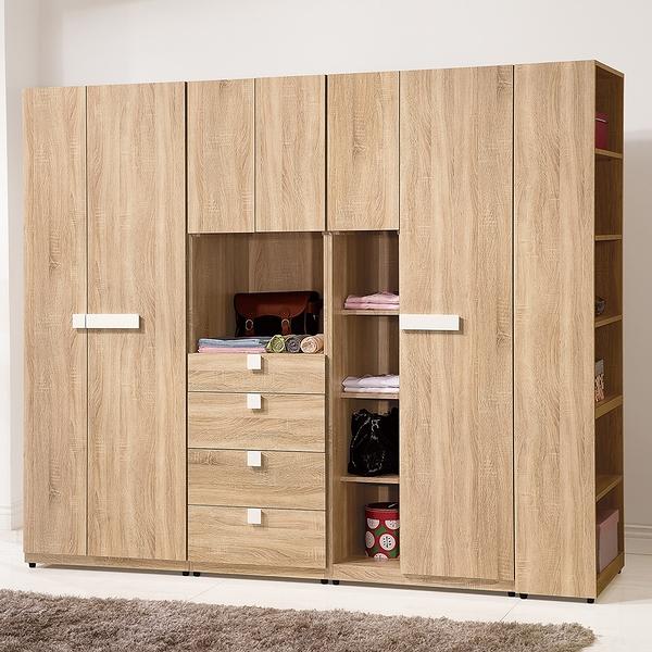 【森可家居】多莉絲8尺組合衣櫃(全組) 9ZX210-5 衣櫥 木紋質感 北歐風 系統式設計 可隨意配置