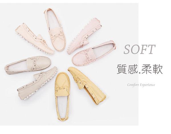 娃娃鞋 豆豆鞋 舒適 韓國蝴蝶結柔軟套腳真皮休閒鞋  mo.oh (韓國鞋款)