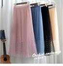 垂感裙子網紗半身裙中長款女2021夏季新品潮高腰紗裙過膝長款長裙 小艾新品