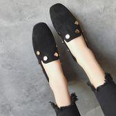 韓版夏季新款平底豆豆鞋2019鉚釘單鞋女平底方頭樂福鞋懶人鞋子女