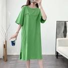 純棉t恤洋裝2021新款夏長款過膝懶人女裙寬鬆慵懶短袖開叉裙子 黛尼時尚精品