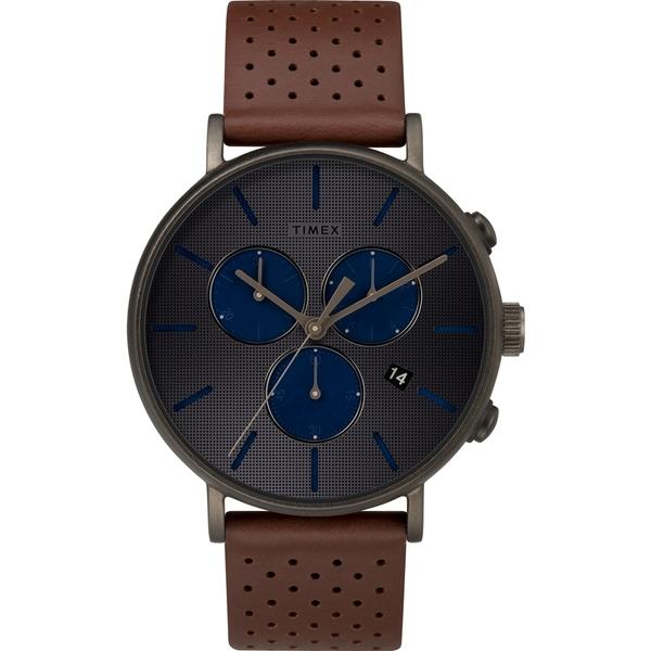 【TIMEX】天美時 Fairfield Chrono系列 時尚三眼計時手錶(深灰/咖啡色 TXTW2R80000)