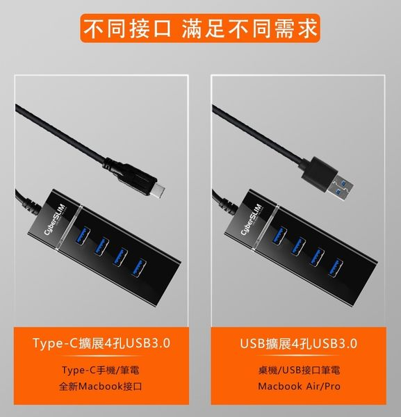 CyberSLIM   HUB 4孔USB3.0集線器 電腦擴充(接口 usb3.0/type-c)