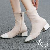 韓系雜誌款絨面拼接拉鍊設計尖頭短靴/2色/35-41碼 (RX0167-H31-2) iRurus 路絲時尚