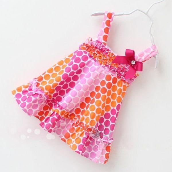 韓版《澄紅水玉款點》吊帶背心洋裝