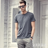 2020夏季體恤男英倫風圓領純色灰色短袖半袖歐美修身打底衫休閒T恤LXY6888【寶貝兒童裝】