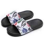 NIKE 涼拖鞋 BENASSI JDI PRINT 白黑 塗鴉 字樣 拖鞋 運動 休閒 男 (布魯克林) 631261-035