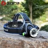 強光頭燈T6L2藍光白光雙光源變焦充電頭戴式