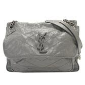SAINT LAURENT YSL 聖羅蘭 灰色牛皮肩背包 Niki Shoulder Bag 498894 【BRAND OFF】