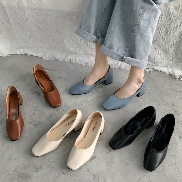 方頭鞋.優雅迷人素面方頭粗跟包鞋.白鳥麗子