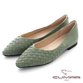【CUMAR】皮革編織小方頭平底鞋(綠色)