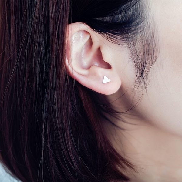 316L醫療鋼 雙面小三角形 啞鈴款旋轉耳環-玫瑰金、銀、黑 防抗過敏 單支販售
