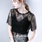 短袖T恤寬鬆蕾絲衫性感上衣罩衫(二色S-2XL可選)/設計家 AL28690
