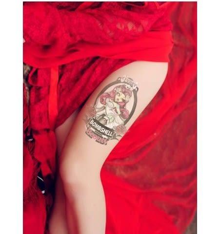 薇嘉雅 美女 環臂圖案紋身貼紙 AX64