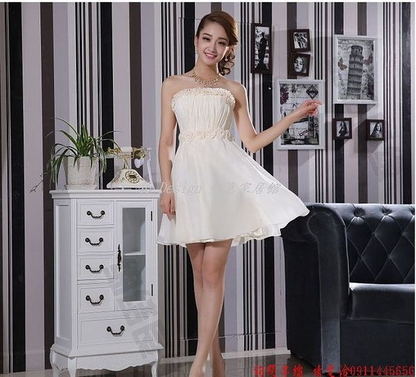 (45 Design)  客製化 定製款7天到貨 新款禮服女短款韓版雙肩蕾絲姐妹團伴娘晚禮服小禮服畢業禮服