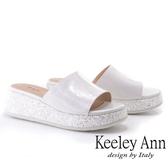 ★2019春夏★Keeley Ann氣質名媛 素面亮粉點綴厚底拖鞋(白色) -Ann系列