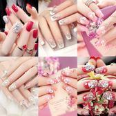 指甲蓋假指甲貼片大紅色新娘結婚美甲成品中長款甲片韓版全套24片 至簡元素