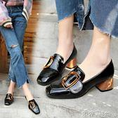 春季女鞋英倫風單鞋方頭粗跟小皮鞋中跟奶奶鞋子 港仔會社