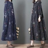 棉麻民俗風印花長洋裝-大尺碼 獨具衣格 J3135