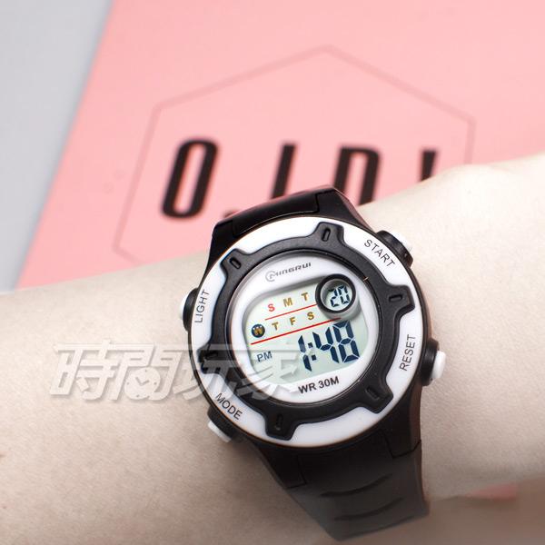 MINGRUI 馬卡龍 多色搭配 多功能 計時碼表 電子錶 學生錶 兒童手錶 女錶 日期 MR8203黑