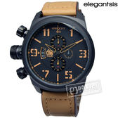 elegantsis / ELJT48-OB09LC /  戰地記者 夜視鏡 計時碼錶 硬派軍事風 皮革手錶 黑x卡其 47mm