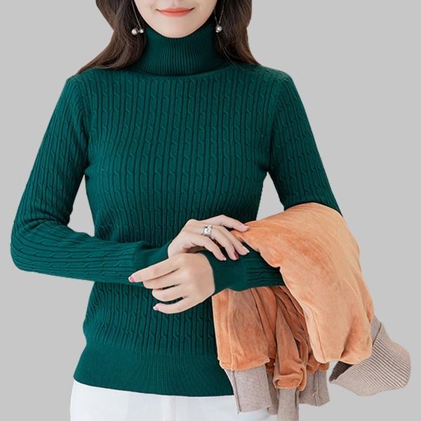 每人限購 內搭馬甲 韓版高領冬季加厚加絨純色套頭針織保暖修身顯瘦百搭打底上衣毛衣