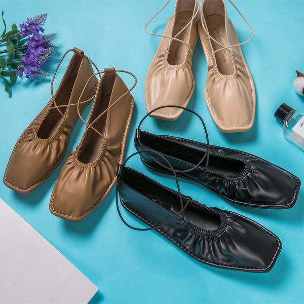 MIUSTAR 小方頭鬆緊彈力繩皮革包鞋(共3色,35-39)【NH1643】預購