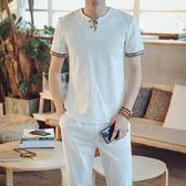 短袖T恤 男夏季棉麻V領純棉半袖體恤套裝男士休閒潮流男裝 非凡小鋪