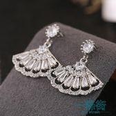 耳環韓國女氣質扇子耳墜大氣扇形925純銀