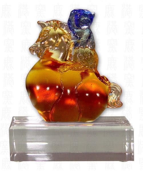 居家開運水晶琉璃文鎮-馬上封侯含座-附精美包裝◆附古法制作珍藏保證卡◆免運費送到家