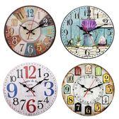 靜音掛鐘客廳圓形歐式復古風鐘錶創意卡通臥室時鐘家用藝術裝飾錶    韓小姐