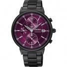 SEIKO 精工 CS系列彩漾三眼計時女錶-紫x鍍黑/36mm 7T92-0VN0P(SNDV25P1)