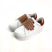 韓系 貼鑽鞋面 皮革休閒鞋《7+1童鞋》E212 紅色