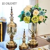 創意歐式花瓶擺件玻璃透明美式餐桌奢華軟裝飾品家居客廳仿真插花