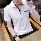 夏季男士短袖T恤韓版半袖體恤打底衫韓版帶領polo衫上衣服潮男裝『艾麗花園』